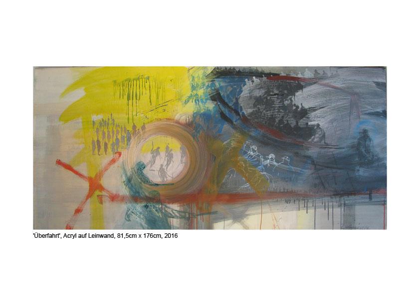 'Übrfahrt', Acryl auf Leinwand, 81,5cm x 176cm, 2016