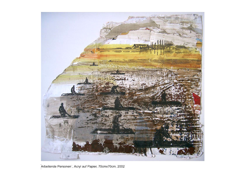 'Arbeiter', Acryl auf Papier, 70cm x 70cm, 2002