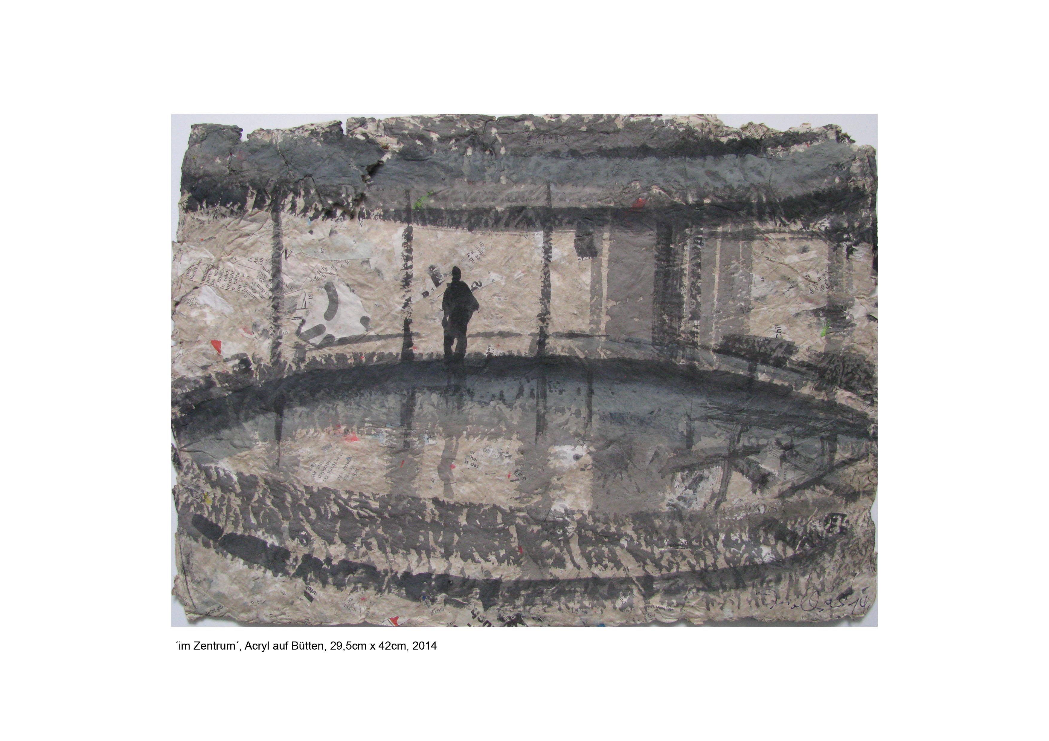´im Zentrum´, Acryl auf Bütten, 29cm x 42cm, 2014