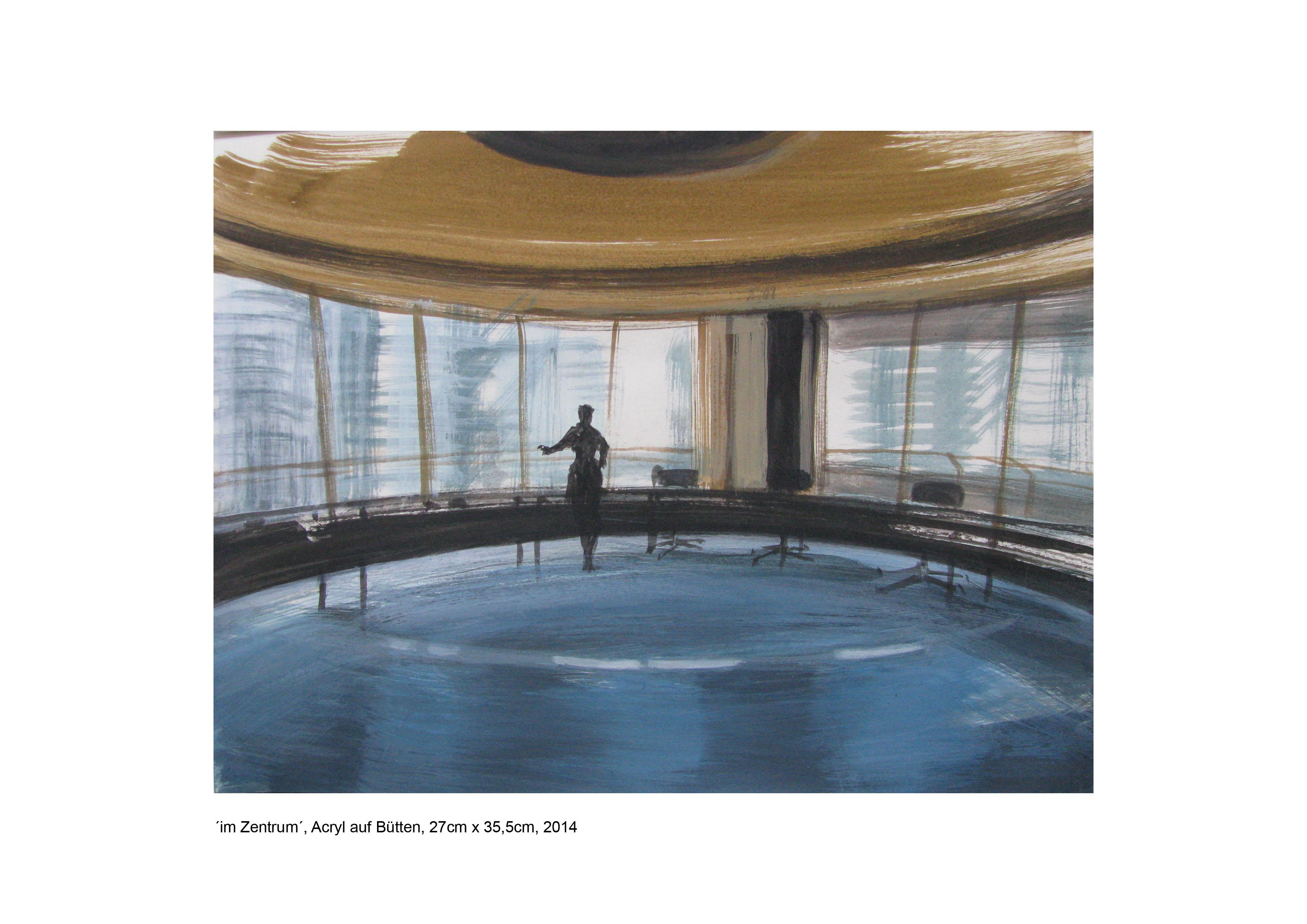 ´im Zentrum´, Acryl auf Papier, 27cm x 35,5cm, 2014